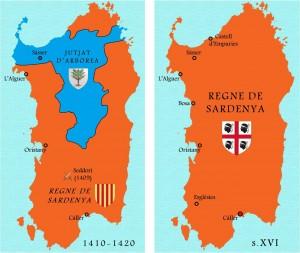 Després de Seddori, Arborea encara resisteix uns anys al nord de l'illa. Sota la Corona d'Aragó, s'imposa a Sardenya un ordenament institucional de matriu catalana i la singular bandera dels Quatre Moros.