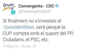 El tuit esborrat del compte de CDC