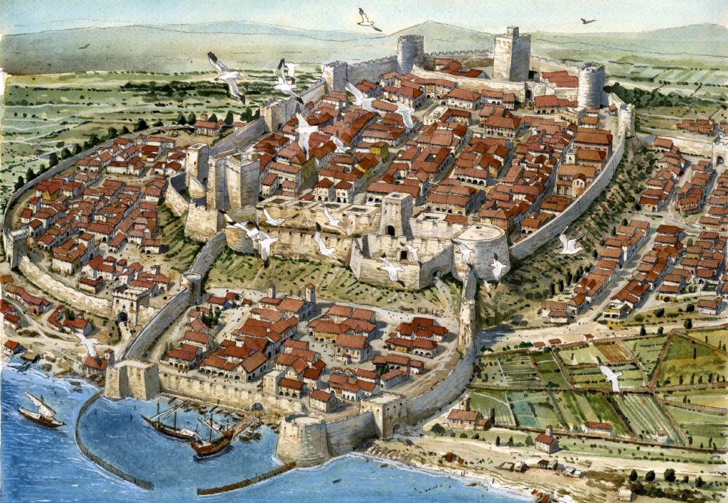 Reconstrucció de la ciutat de Càller l'any 1535 en que s'aprecia la compartimentació dels barris entorn al castell. Gentilesa de l'il·lustrador Giorgio Albertini i l'editor de Caller 1535 – Carlo V, Cagliari e la crociata contro gli infedeli, Maurizio Corona.