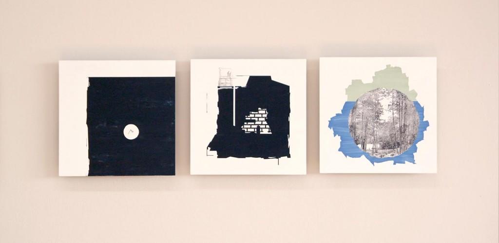 "Obres de Yamandú Canosa: ""País"", ""Frontera"" y ""En el iceberg"". Acrílic, gouache i transferència sobre fusta. 25 x 25 cm. 2015."