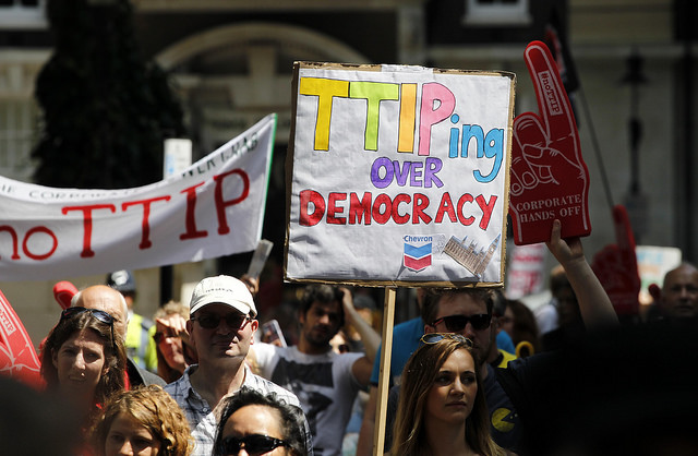 TTIP protest in London : Global Justice Now