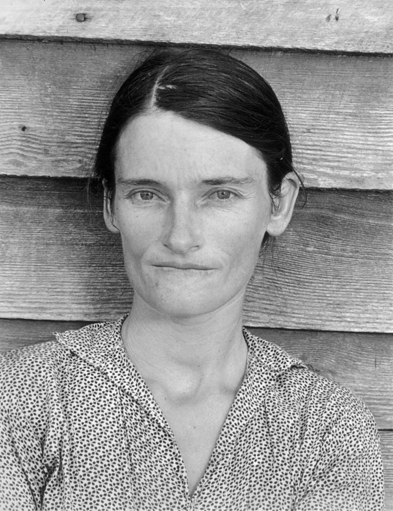 Left: Walker Evans, Alabama Tenant Farmer Wife, 1936, gelatin silver print, 20.9 x 14.4 cm, Metropolitan Museum of Art
