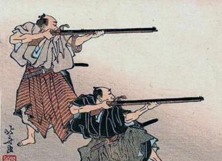 Samurais disparant amb arcabussos