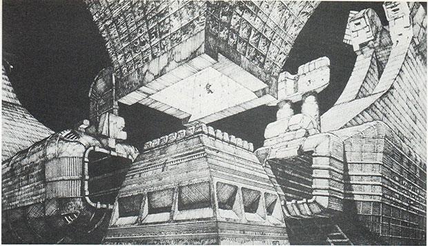 Interior del temple de l'Alien, per Chris Foss