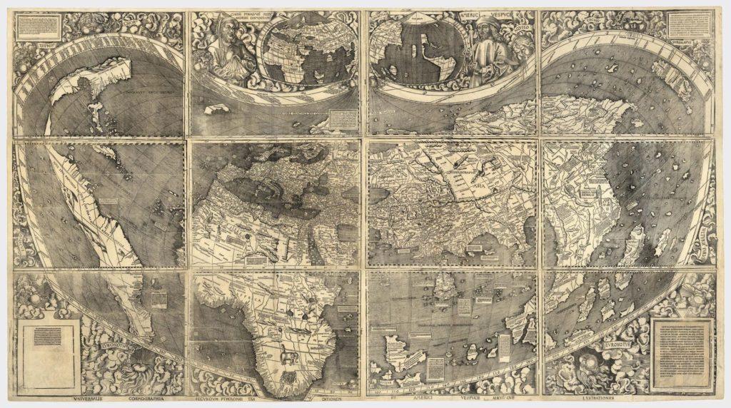 Carte du monde Universalis Cosmographia, 1507; per German Cartographer Martin Waldseemüller