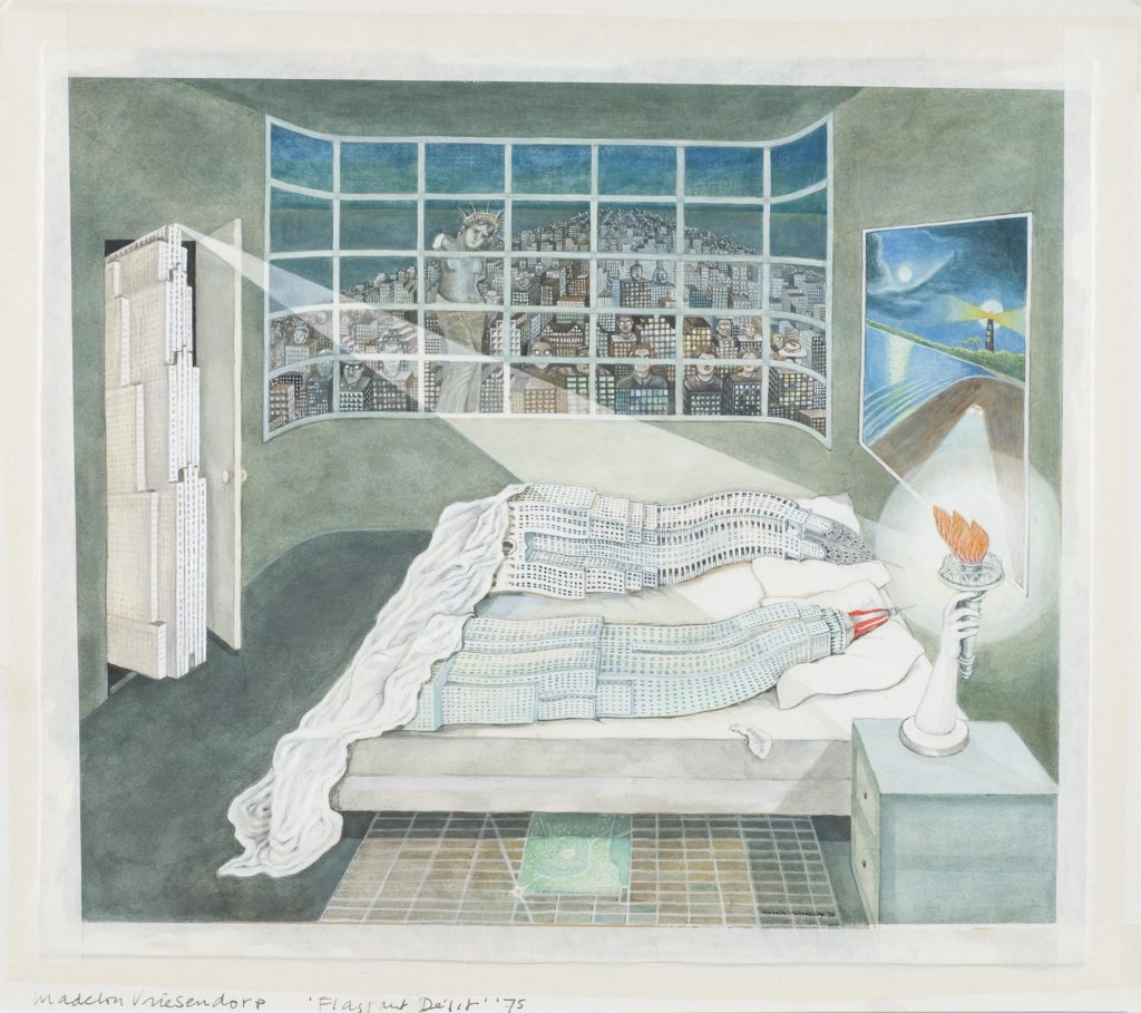 Flagrant delit. Delirious New York Madelon Vriesendorp 1975 Aquarel•la i aiguada sobre paper / 35,3 x 39,9 cm Collection Frac Centre-Val de Loire, Orléans, France