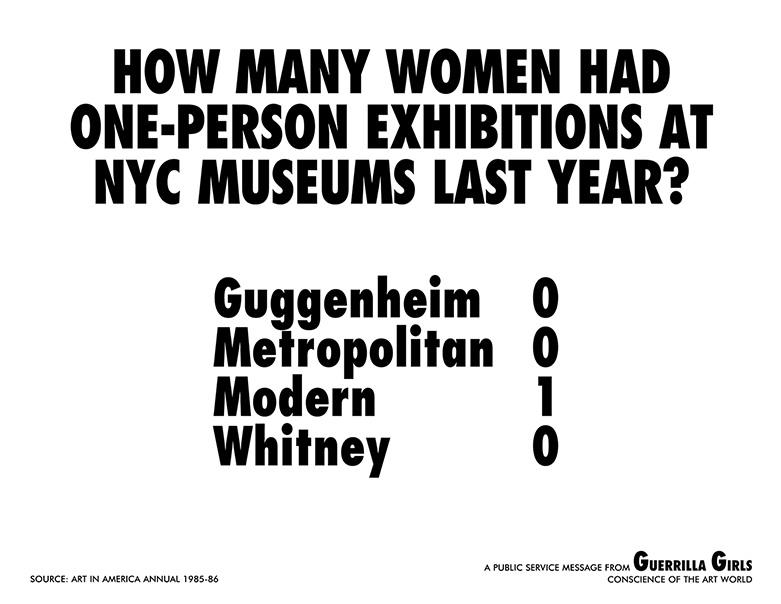Guerrilla Girls, How many women had one-person exhibitions at NYC museums last year, 1985