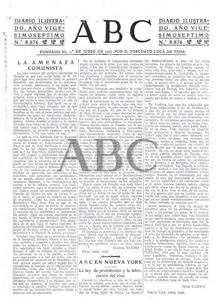 """La por del fantasma roig: ABC avisa als seus lectors de l'""""amenaça comunista"""". Font: Hemeroteca Digital de la Biblioteca Nacional Española"""