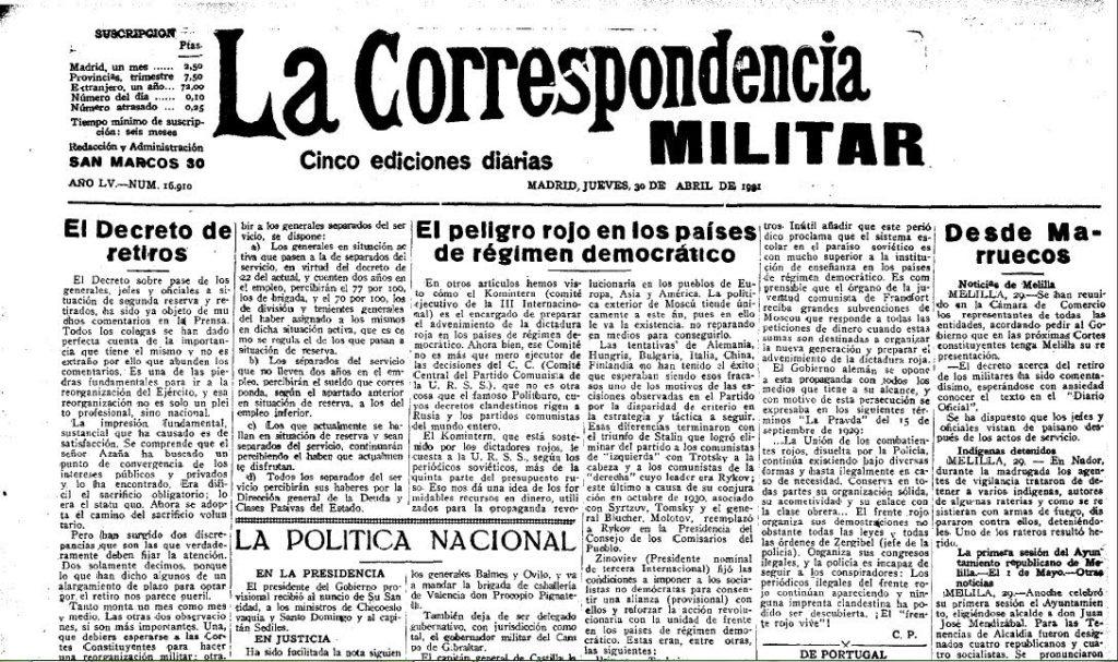"""""""La correspondencia militar"""" va explotar molt les supsoades similituds entre la Rússia de 1917 i l'Espanya de 1931. Font: Hemeroteca Digital de la Biblioteca Nacional Española"""