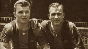 Kubala y Di Stéfano con la camiseta azulgrana