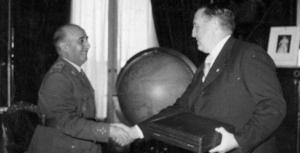 Francisco Franco junto a Santiago Bernabéu