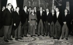 Franco recibiendo a la directiva del Barcelona