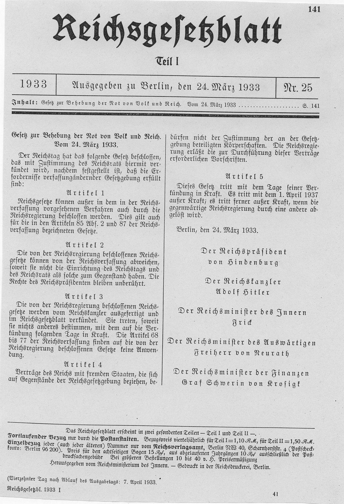 Ley Habilitante de 1933