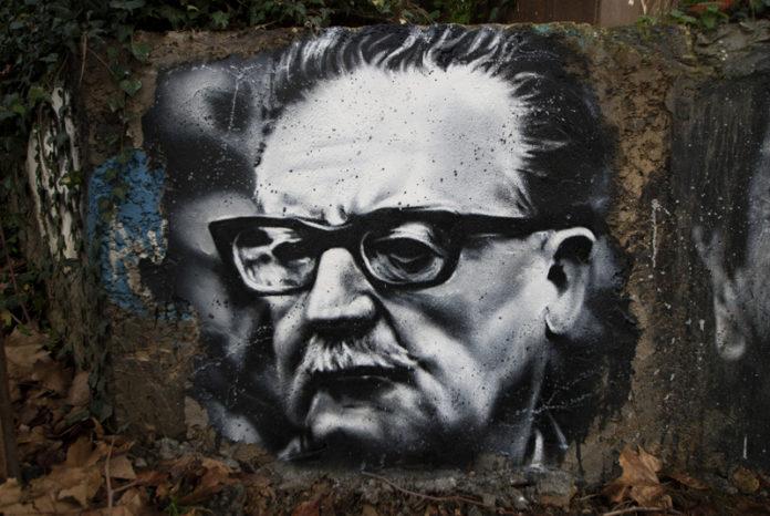 Salvador Allende Gossens, painted portrait / thierry ehrmann