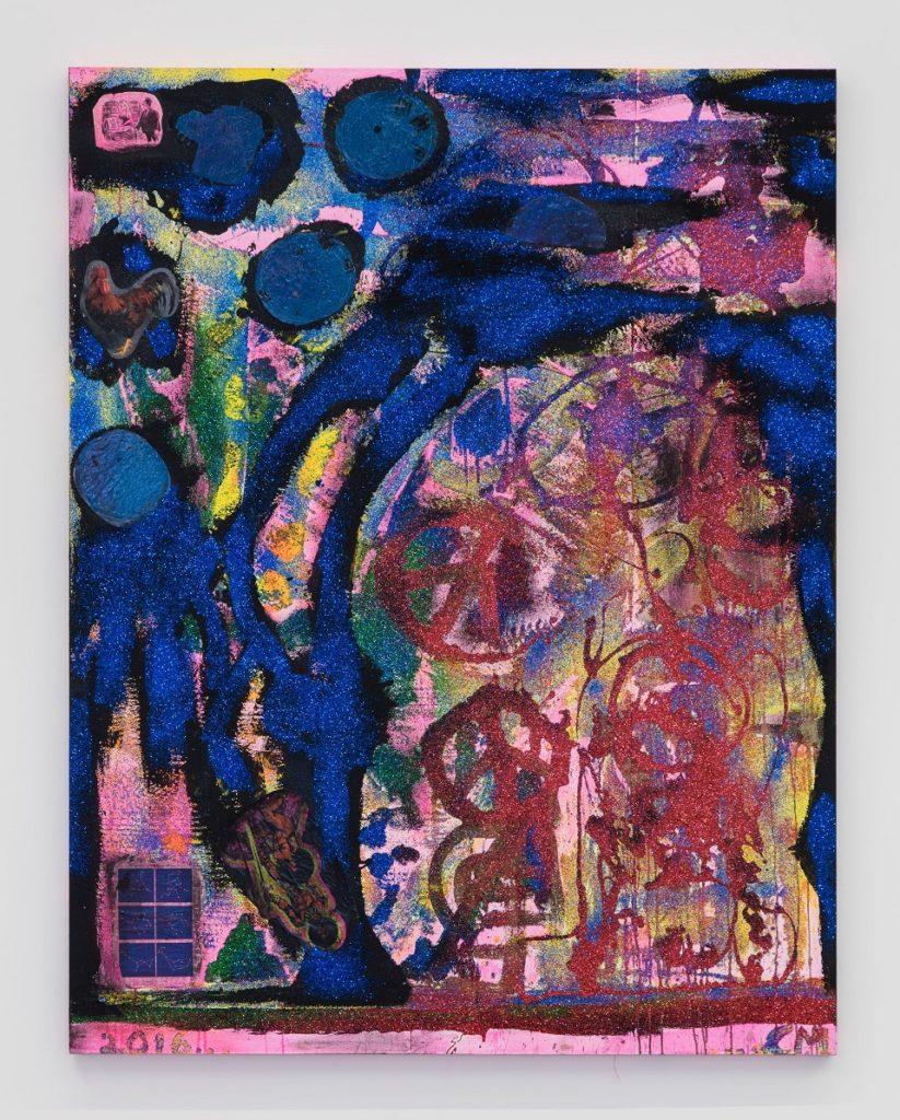 Chris Martin If You Don't See It Ask For It, 2016 Acrílic i purpurina sobre tela 195.6 x 152.4 x 4.4 cm Cortesia de David Kordansky Gallery, Los Angeles, CA Fotografia: Brian Forrest