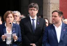 La presidenta del Parlament, Carme Forcadell; el president de la Generalitat, Carles Puigdemont, i el vicepresident Oriol Junqueras / Núria Julià
