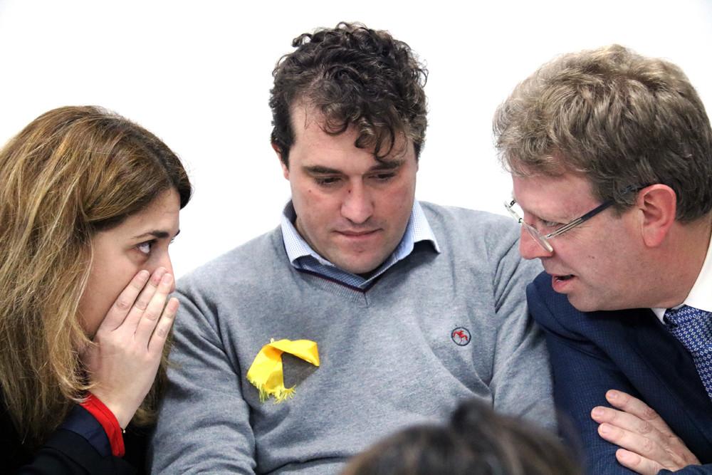 La coordinadora general del PDeCAT, Marta Pascal, amb el coordinador d'organització, David Bonvehí, i el responsable d'Acció Política, Ferran Bel / Bernat Vilaró
