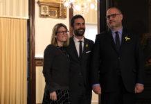 Reunió de Roger Torrent, president del Parlament, amb Eduard Pujol i Elsa Artadi / Elisenda Rosanas