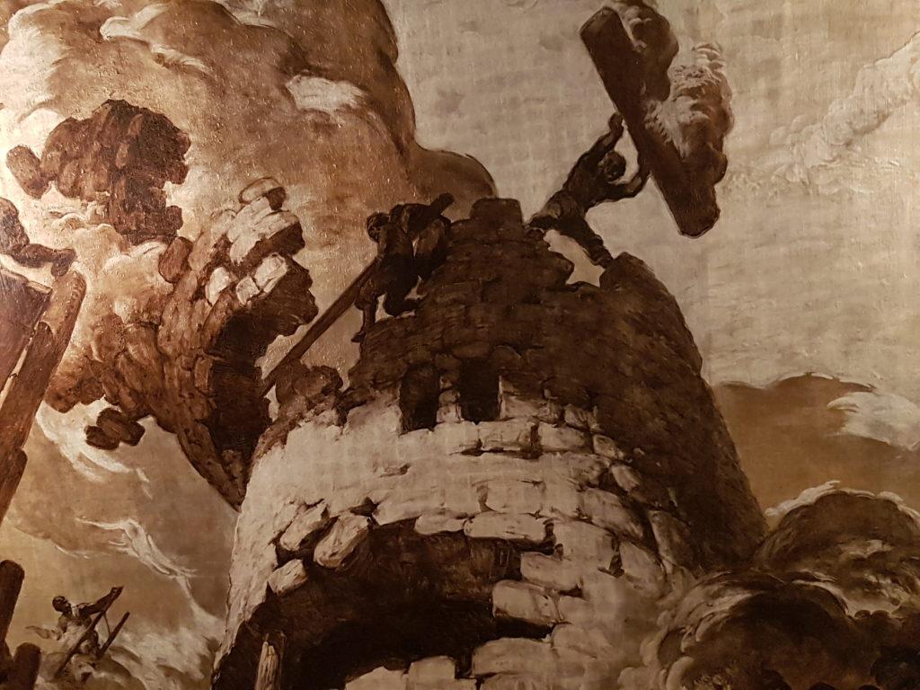 Mural de Sert al Saló de Cròniques de l'Ajuntament de Barcelona sobre la defensa d'una torre d'Adrianòpolis, on va ser assassinat Roger de Flor