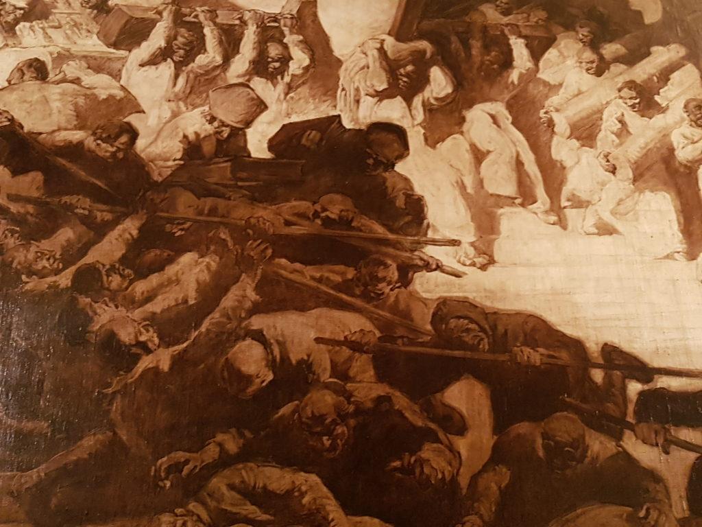 Mural de Sert del Saló de Cròniques de l'Ajuntament de Barcelona representant una batalla