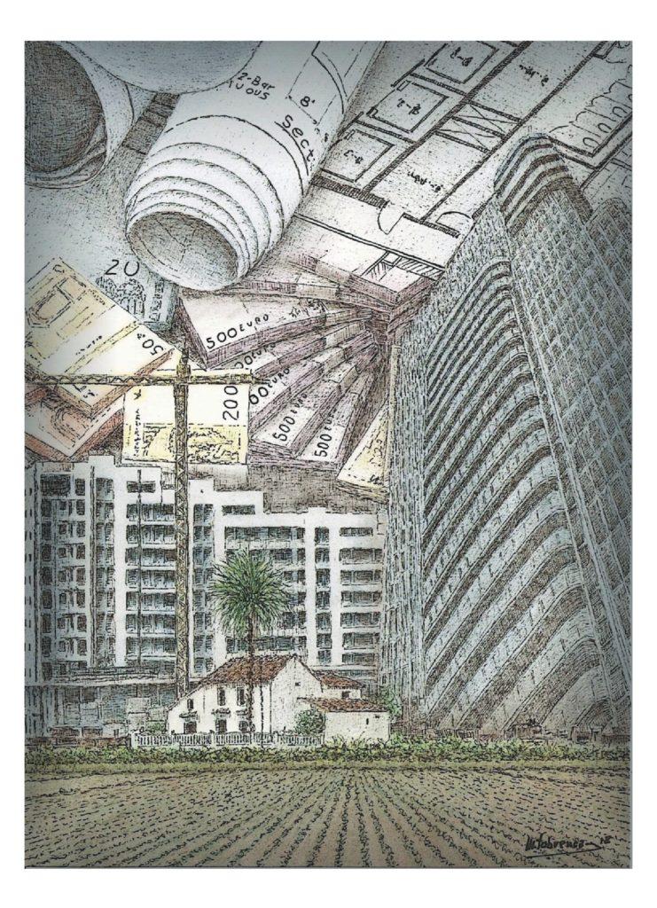 La fi de l'Horta// Fotomontatge Manolo Tabuenca per a Mirall País Valencià