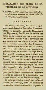 Declaració de Drets de la Dona i la Ciutadana. OLYMPE DE GOUGES INFO